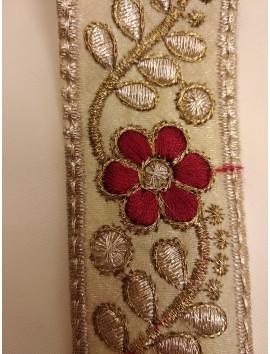 Cinta Bordada flores rojas c37 - 3cm