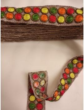 Cinta Bordada circulos de colores c38 - 3cm