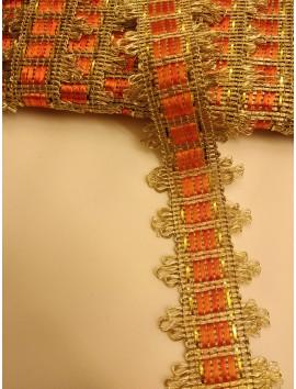Pasamanería metálica oro y naranja P2 - 2,5 cm