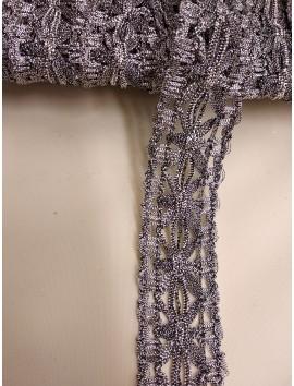 Pasamanería , Galón plata viejaflores  P20 - 4 cm
