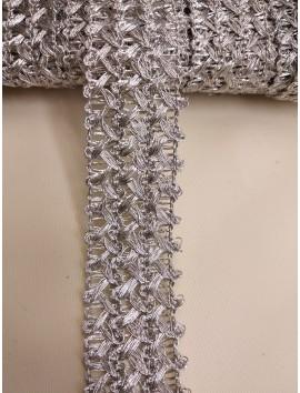 Pasamanería , Galón metálico plata   P21 - 4 cm