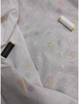 Batista blanca de algodón perforada flores colorb7