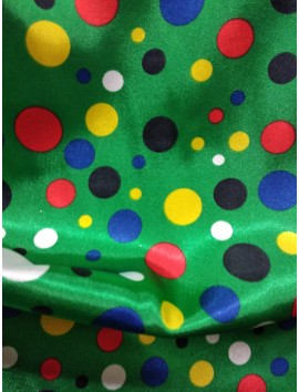Raso verde lunares de colores