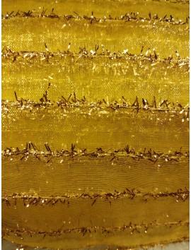 Organza amarilla con franjas oro