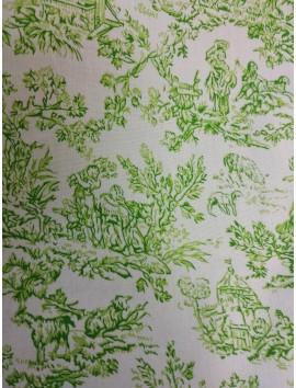 Algodón toile de jouy verde