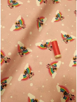 Algodón Patchwork Minnie Mouse y arcoiris
