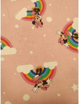 Algodón Patchwork Minnie Mouse y arcoiris