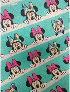 Algodón Patchwork Minnie Mouse fondo azul