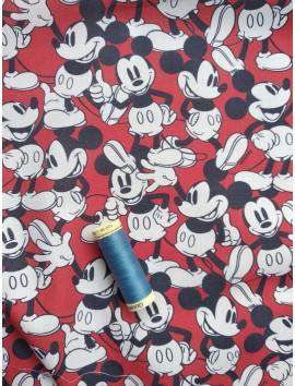 Algodón  estampado Mickey fondo rojo