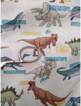 Algodón  Dinoraurios T-rex , triceratops...