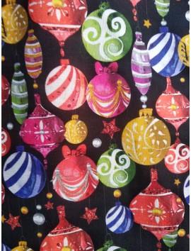 Tela de algodón de Navidad bolas decoradas fondo negro
