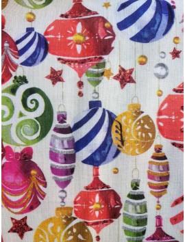 Tela de algodón de Navidad bolas decoradas fondo blanco
