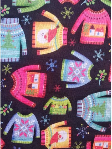 Tela de algodón de Navidad Jerseys fondo negro