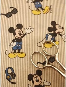 Algodón  estampado Mickey rayas Beige