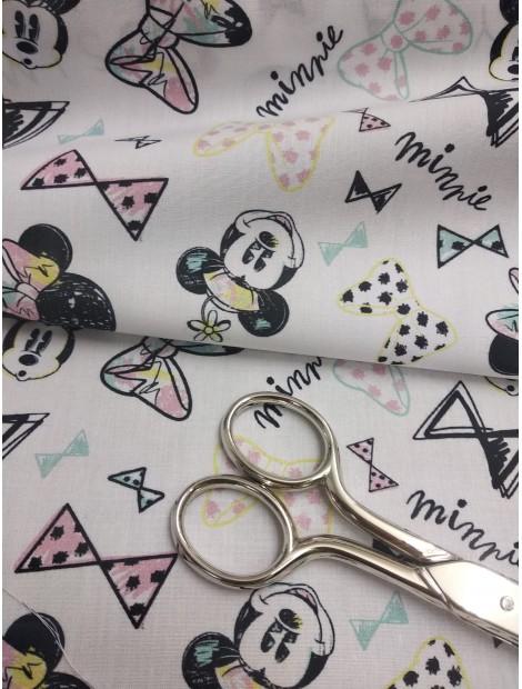 Tela de algodón Minnie Mouse lazos fondo blanco