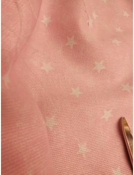 Tela de Piqué rosa estrellas blancas
