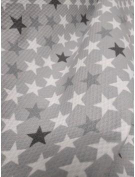 Piqué gris estrellas grises y blancas