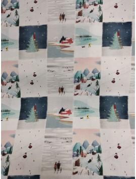 Algodón  Navidad con paisajes en cuadros