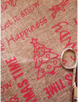Arpillera Navidad Letras rojas y campanas