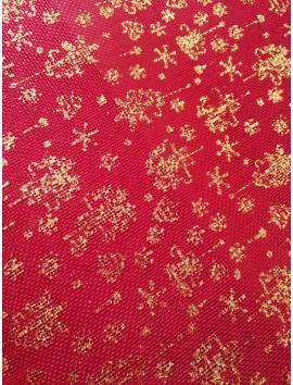 Arpillera Navidad roja con copos dorados