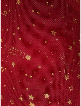 Arpillera Navidad roja con estrellas doradas
