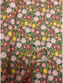 Tela de algodón liberty flores fondo verde oscuro