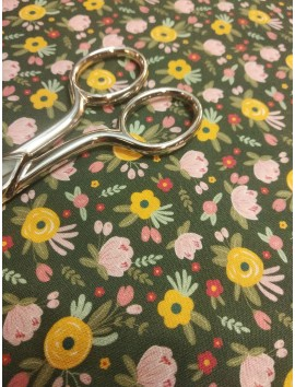 Tela de algodón liberty flores mostaza y rosas fondo verde oscuro