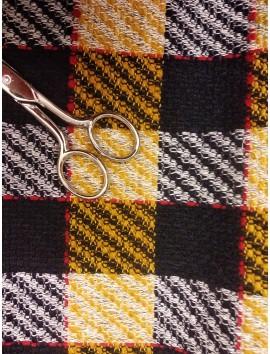 Tela de Paño  de abrigo amarillo y azul tweed