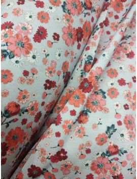 Tela sábana estampado floral fondo azul
