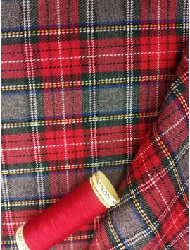 Cuadros Escoceses Gris Verdoso y Rojos con Rayas Azul y Amarillas