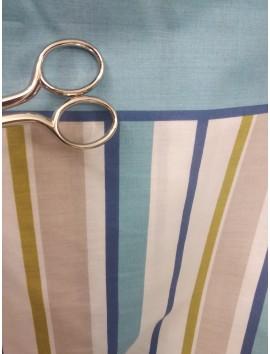 Tela sábana rayas azules y mostaza
