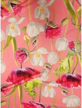 Tela Stretch bielástico tulipanes y rosales