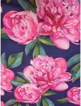 Tela Stretch bielástico flores rosas fondo marino