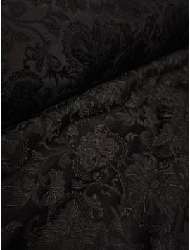 Brocado negro floral seda y rayón