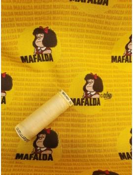 Tela de Algodón Mafalda fondo amarillo
