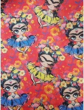 Algodón  Frida Kahlo fondo rojo