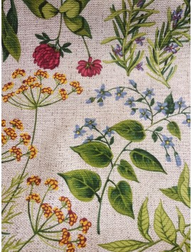 Tela Loneta flores silvestres fondo rafia