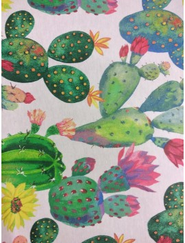 Mantel resinado estampado cactus