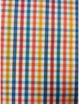 Tela de Algodón rayas amarillas, rojas y azules