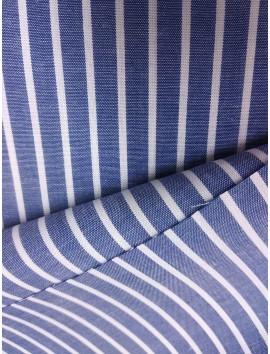 Tela de Algodón rayas azules y blancas