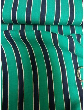 Tela de Algodón rayas azul y verde