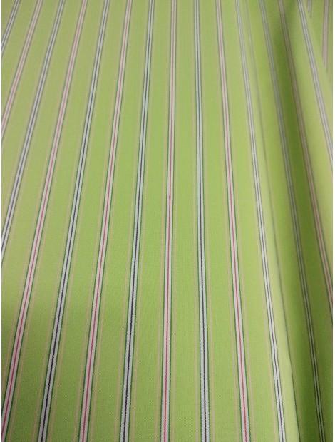 Tela de Algodón rayas verde manzana