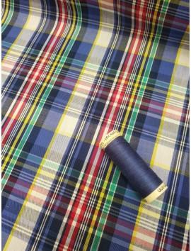 Tela de Algodón cuadro madras, azul, verde y amarillo