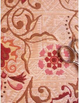 Tela de tapiz gobelino flores granates