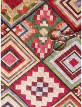Tela de tapiz gobelino geométrico cuadros