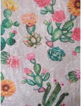 Tela Loneta cactus y flores amarillas