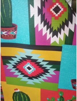 Tela de Mantel anti manchas cactus y cuadros