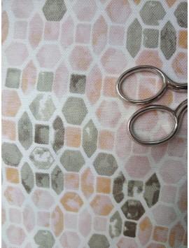Tela de loneta geométricos rosas