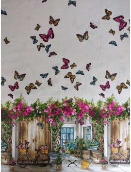 Estampado bicicleta , mariposas y  flores