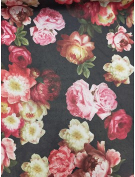 Tela de Gasa estampadode rosas